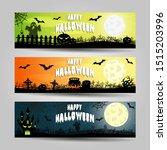 set of three halloween banners  | Shutterstock .eps vector #1515203996