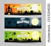 set of three halloween banners  | Shutterstock .eps vector #1515204020