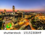 Longexposure aerel shot Sandton city johannesburg at night at night