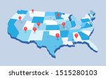 pin map of the united state of... | Shutterstock .eps vector #1515280103