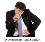 Small photo of Businessman pointing an accusatory finger at the camera identifying and blaming the viewer, upper body portrait isolated on white