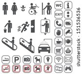 vector gray icons set on white... | Shutterstock .eps vector #151536536