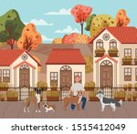 young man with cute dogs... | Shutterstock .eps vector #1515412049