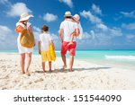 back view of a happy family on... | Shutterstock . vector #151544090