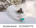 Female Snowboarder Curved And...