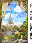 Small photo of Beautiful view of Paris and the Eiffel Tower from the flower arch with waterfalls. Digital collage , mural and fresco. Wallpaper. Poster design. Modular panno.
