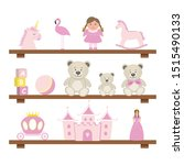shelves with toys. pink toys... | Shutterstock .eps vector #1515490133