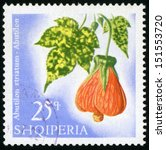 Small photo of ALBANIA - CIRCA 1967: post stamp printed in Albania (shqiperia) shows flowering maple (abutilon striatum) from flowers series, Scott catalog 1020 A222 25q blue green orange white, circa 1967