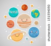 cute planet  saturn  mars ... | Shutterstock .eps vector #151554050