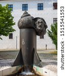 Small photo of Ulm, Germany - Jul, 20th 2019: Einstein Fountain, The bronze cast sculpture by sculptor Jurgen Goertz on the grounds of the historic armory was created in 1984