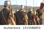 Small photo of A Roman legion was a large military unit of the Roman army. Ancient Roman military clothing. The Roman Legions Marching to a Historical Battle