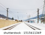 Snow Covered Railway Track.  The view along a snow covered railway track from Bruck - Fusch Station in the state of Salzburg, Austria.  Bruck and Fusch are both municipalities in Zell am See district.