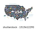 infographic usa map flat hand... | Shutterstock .eps vector #1515612290