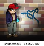 cartoon kid with spraycan and a ... | Shutterstock .eps vector #151570409