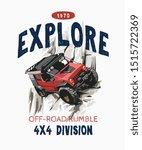 explore slogan with cartoon 4x4 ... | Shutterstock .eps vector #1515722369