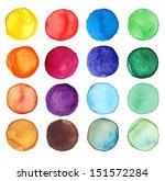 Set Of Multicolored Watercolor...