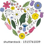 vector stylized flowers laid... | Shutterstock .eps vector #1515761039