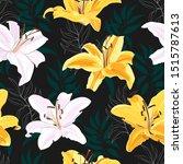 lily flower seamless pattern on ... | Shutterstock .eps vector #1515787613