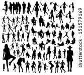 set of people silhouettes | Shutterstock .eps vector #151579169