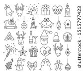 christmas icons outlined vector ... | Shutterstock .eps vector #1515797423