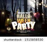 halloween party flyer with old... | Shutterstock .eps vector #1515858530