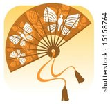 stylized fan with butterflies... | Shutterstock .eps vector #15158764