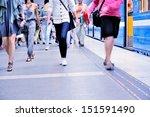 Subway train and passengers - stock photo