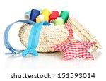 wicker basket with accessories... | Shutterstock . vector #151593014