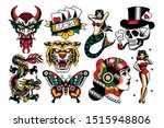 vector set of old school tattoo ... | Shutterstock .eps vector #1515948806