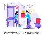 delivery service vector... | Shutterstock .eps vector #1516018403