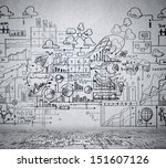 business ideas sketch drawn on... | Shutterstock . vector #151607126