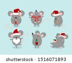 set of cute funny mouses in...   Shutterstock .eps vector #1516071893