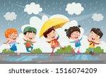 Children Using Umbrella Under...