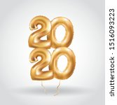 happy new year metallic gold... | Shutterstock .eps vector #1516093223
