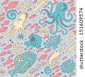 cute seamless pattern with... | Shutterstock .eps vector #151609574