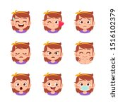 cute kid face expression emoji... | Shutterstock .eps vector #1516102379
