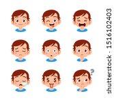 Cute Kid Face Expression Emoji...