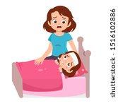 cute kid sick sleep in bedroom...   Shutterstock .eps vector #1516102886