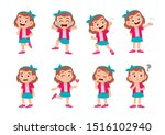 cute kid with many gesture...   Shutterstock .eps vector #1516102940