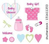 baby girl shower card  ... | Shutterstock .eps vector #151611353