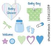 baby boy shower card  ... | Shutterstock .eps vector #151611359