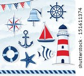 Nautical design elements: anchor, starfish, wheel, boat, fish, rope, bell, lifebuoy, lighthouse, flag, compass