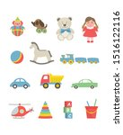 toys isolated on a white... | Shutterstock .eps vector #1516122116