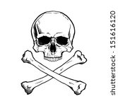 black and white human skull and ... | Shutterstock . vector #151616120