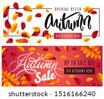collection of autumn sale and... | Shutterstock .eps vector #1516166240