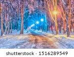 Watercolor Cityscape. Winter...