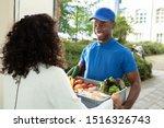 smiling woman receiving grocery ...   Shutterstock . vector #1516326743