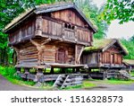 Small photo of Storehouse at Norsk Folkemuseum (Folk Museum) at Bygdoy in Oslo, Norway, an open-air museum with 160 historic buildings. The Setesdal farmstead is furnished to look as it did in the 1700s.