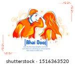 bhai dooj  bhau beej  bhai tika ... | Shutterstock .eps vector #1516363520