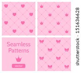 Set of cute pink girlish seamless patterns. Background with hearts, crowns, bows. Can be used to design children's clothing. Vector illustration.